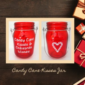 Red holiday decorative glass jar Candy Cane Kisses product photo