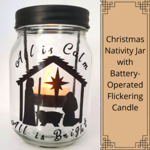 clear holiday decorative glass jar with nativity silhouette