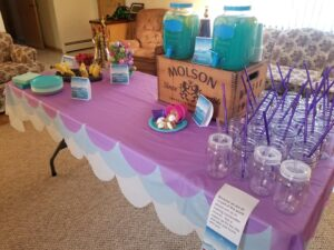 Mason Jars Set Out as Drinking Glasses for Party