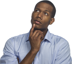 Black man with finger on chin as though thinking about discussing controversial topics