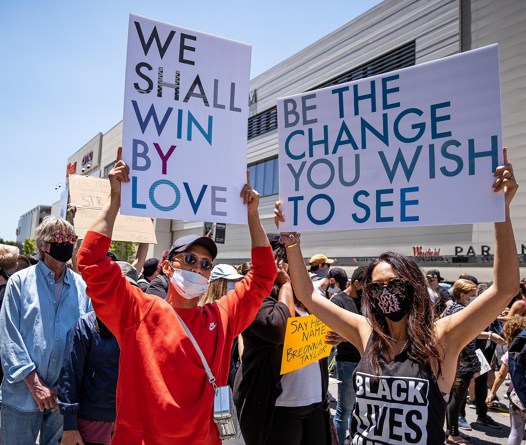 Crowd of Black Lives Matters Protesters with Inspirational Signs Advocating for Change