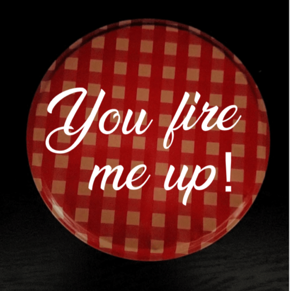 """Valentine's Day Gift Fire Starter Top View Reads """"You Fire Me Up!"""""""