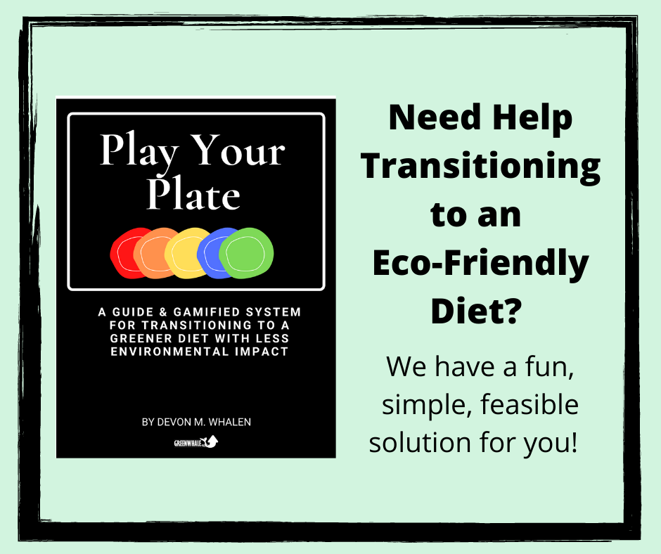 Image of the cover of the Play Your Plate Guide. Text reads: Need Help Transitioning to an Eco-Friendly Diet?