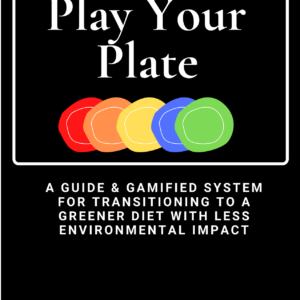 Front Cover of Play Your Plate Guide. Black background with white text and a line of rainbow colored plates
