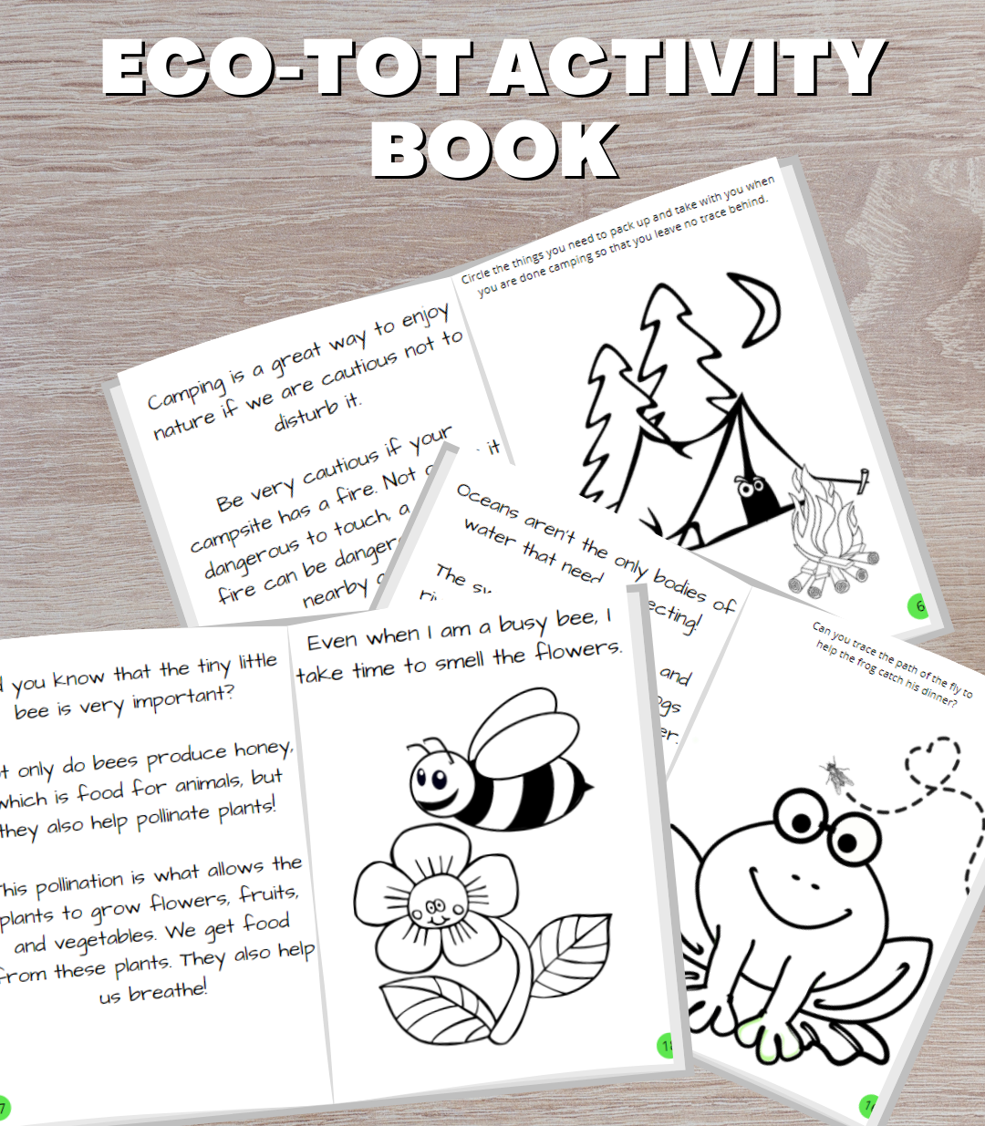 Product Image with a desk background and open layouts of the activity book pages