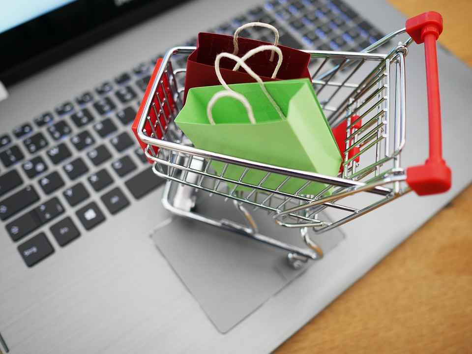 Keyboard with Mini Shopping Cart on top and Mini Shopping Bags